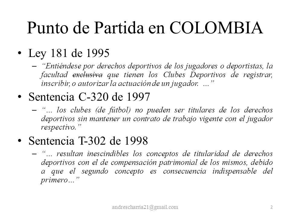 Punto de Partida en COLOMBIA Ley 181 de 1995 – Entiéndese por derechos deportivos de los jugadores o deportistas, la facultad exclusiva que tienen los