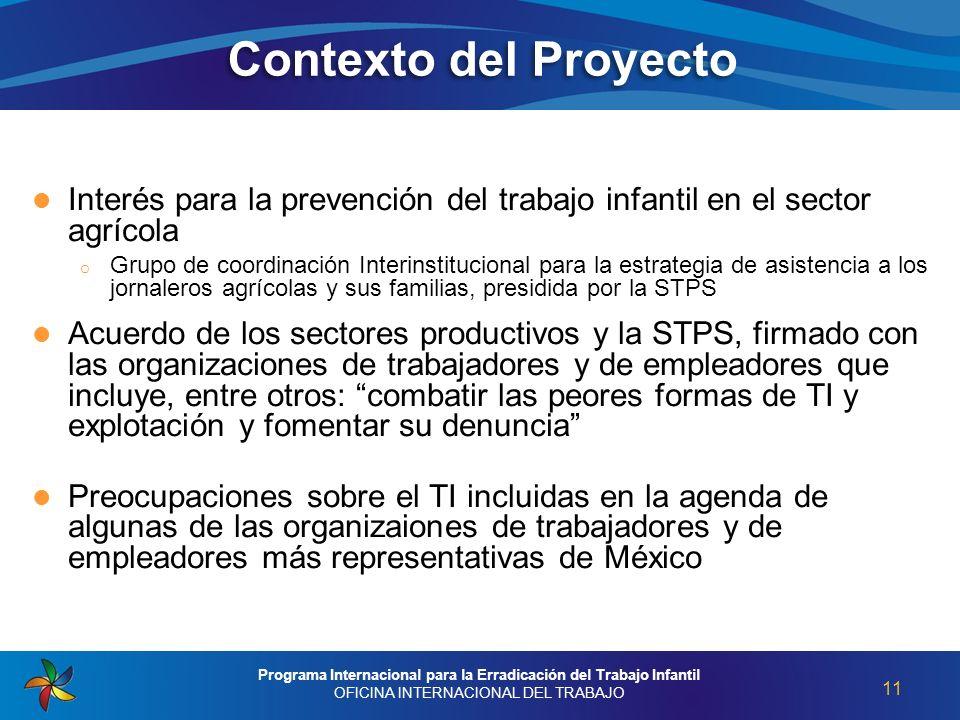 Interés para la prevención del trabajo infantil en el sector agrícola o Grupo de coordinación Interinstitucional para la estrategia de asistencia a lo