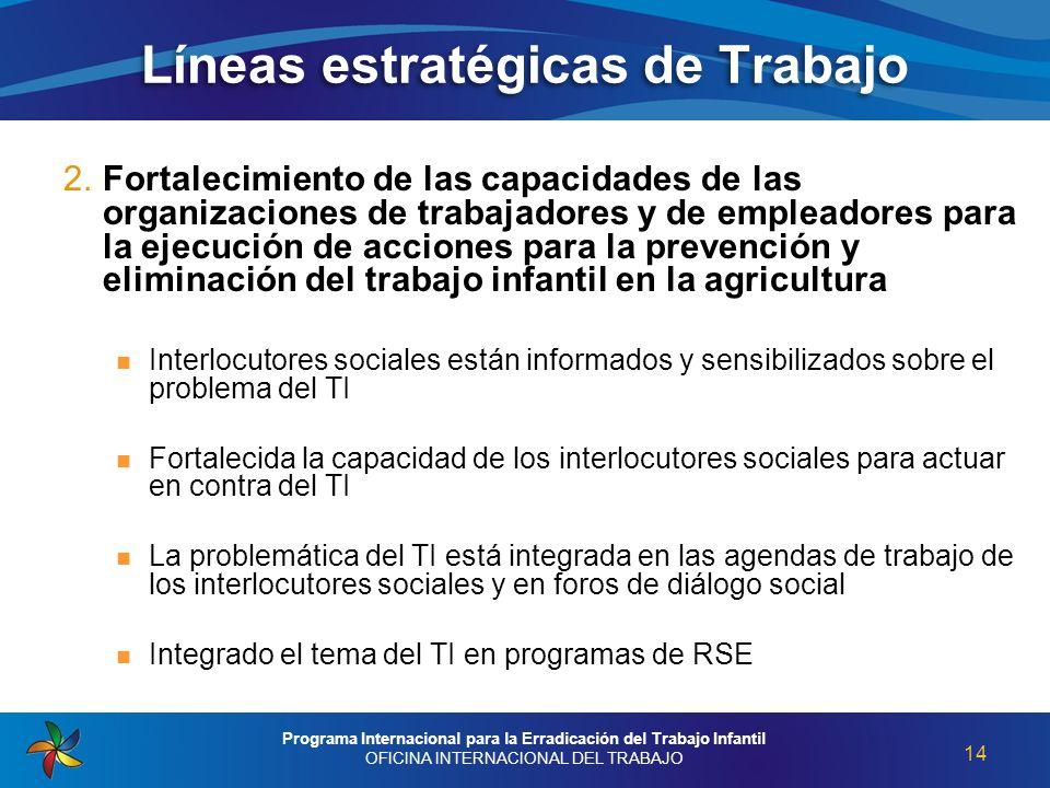 2. Fortalecimiento de las capacidades de las organizaciones de trabajadores y de empleadores para la ejecución de acciones para la prevención y elimin
