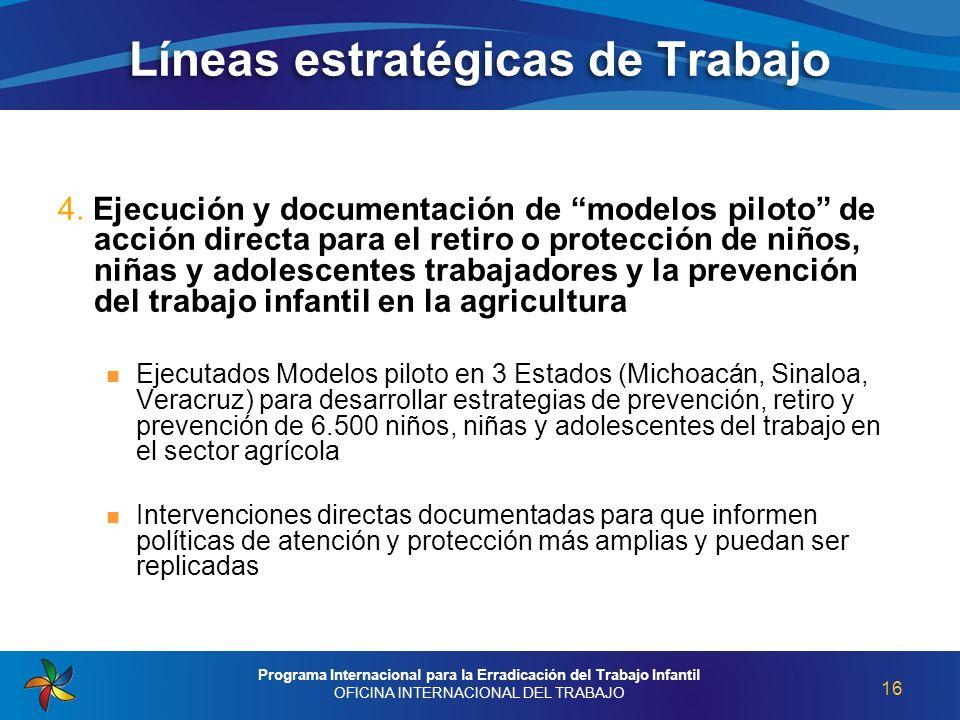 4. Ejecución y documentación de modelos piloto de acción directa para el retiro o protección de niños, niñas y adolescentes trabajadores y la prevenci
