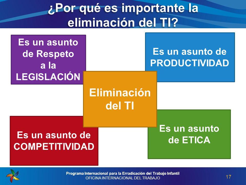 ¿Por qué es importante la eliminación del TI? 17 Programa Internacional para la Erradicación del Trabajo Infantil OFICINA INTERNACIONAL DEL TRABAJO Es