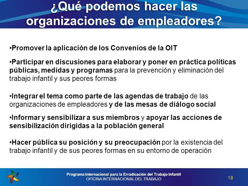 ¿Qué podemos hacer las organizaciones de empleadores? 18 Programa Internacional para la Erradicación del Trabajo Infantil OFICINA INTERNACIONAL DEL TR