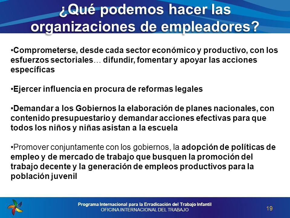 ¿Qué podemos hacer las organizaciones de empleadores? 19 Programa Internacional para la Erradicación del Trabajo Infantil OFICINA INTERNACIONAL DEL TR