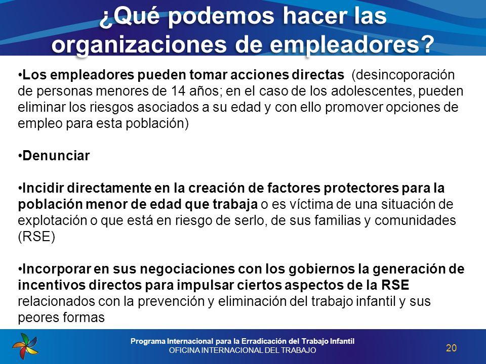 ¿Qué podemos hacer las organizaciones de empleadores? 20 Programa Internacional para la Erradicación del Trabajo Infantil OFICINA INTERNACIONAL DEL TR