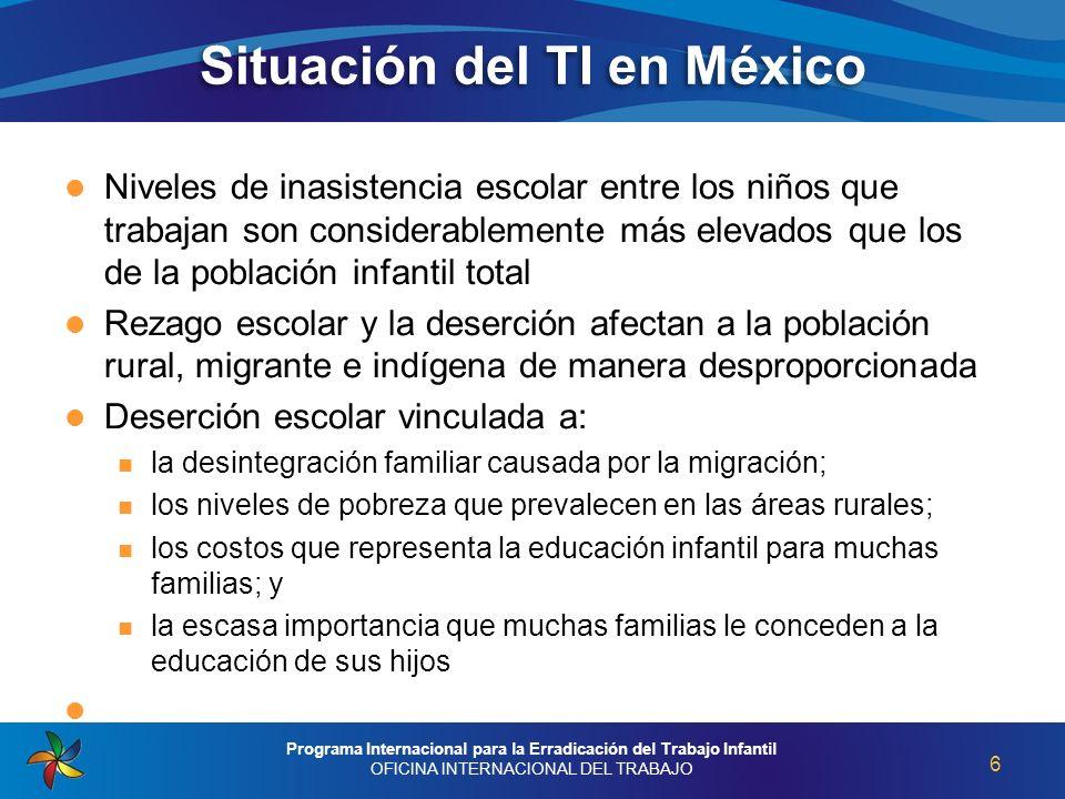 Situación del TI en México Niveles de inasistencia escolar entre los niños que trabajan son considerablemente más elevados que los de la población inf