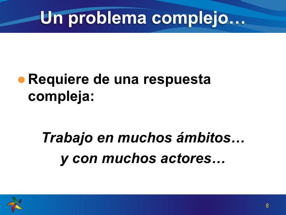 Un problema complejo… Requiere de una respuesta compleja: Trabajo en muchos ámbitos… y con muchos actores… 8