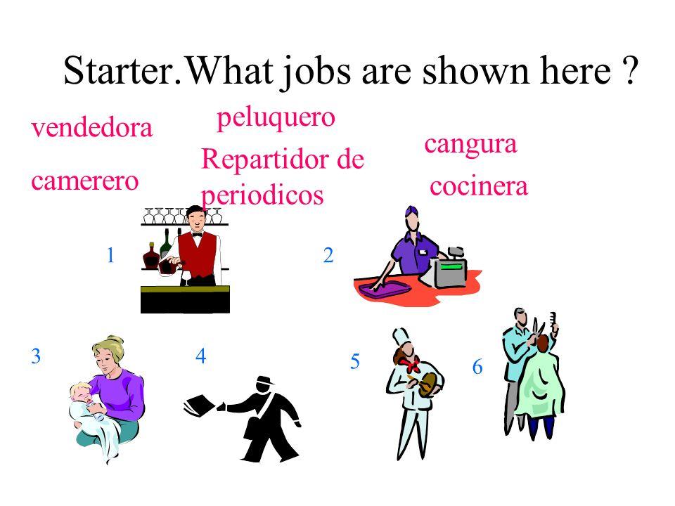 Starter.What jobs are shown here ? vendedora peluquero cangura camerero cocinera Repartidor de periodicos 12 34 5 6