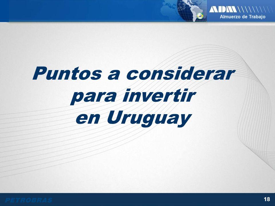 Almuerzo de Trabajo 18 Puntos a considerar para invertir en Uruguay
