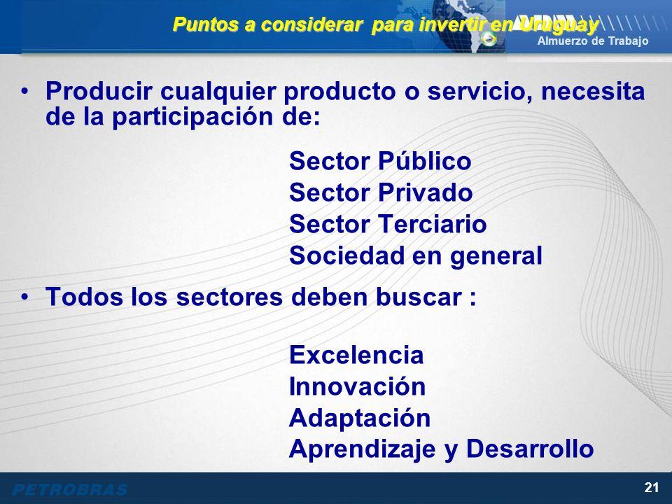 Almuerzo de Trabajo 21 Producir cualquier producto o servicio, necesita de la participación de: Sector Público Sector Privado Sector Terciario Sociedad en general Todos los sectores deben buscar : Excelencia Innovación Adaptación Aprendizaje y Desarrollo Puntos a considerar para invertir en Uruguay