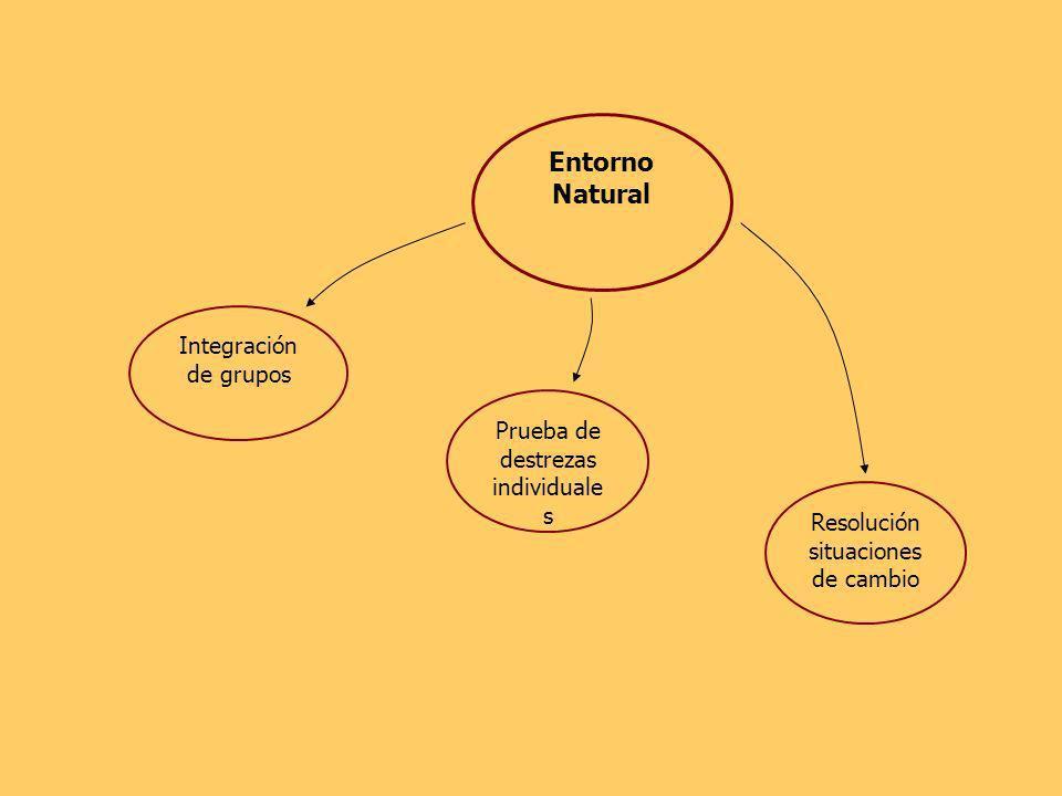 Entorno Natural Integración de grupos Prueba de destrezas individuale s Resolución situaciones de cambio