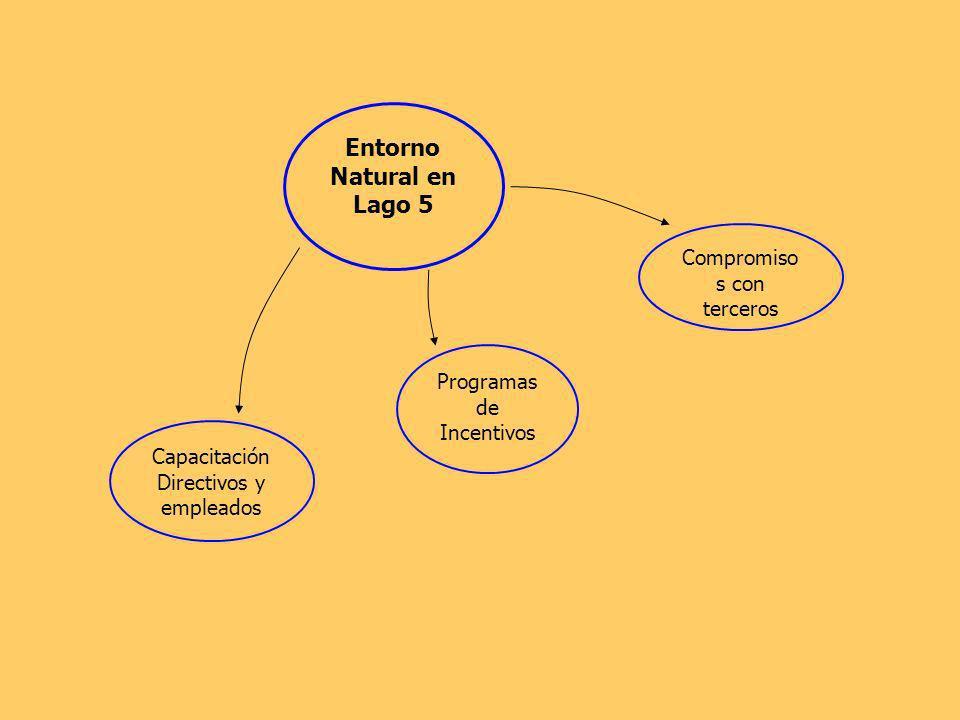 Capacitación Directivos y empleados Programas de Incentivos Compromiso s con terceros Entorno Natural en Lago 5