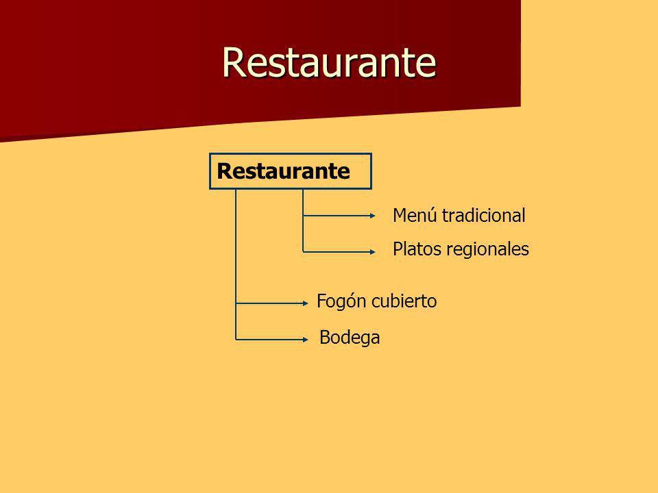 Restaurante Restaurante Menú tradicional Platos regionales Fogón cubierto Bodega