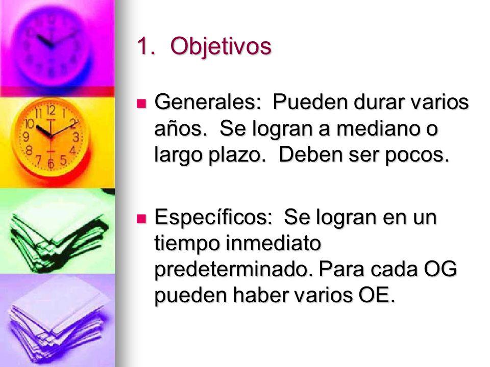 1.Objetivos Generales: Pueden durar varios años. Se logran a mediano o largo plazo.
