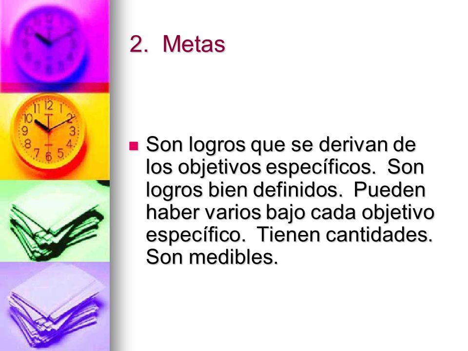 2.Metas Son logros que se derivan de los objetivos específicos.