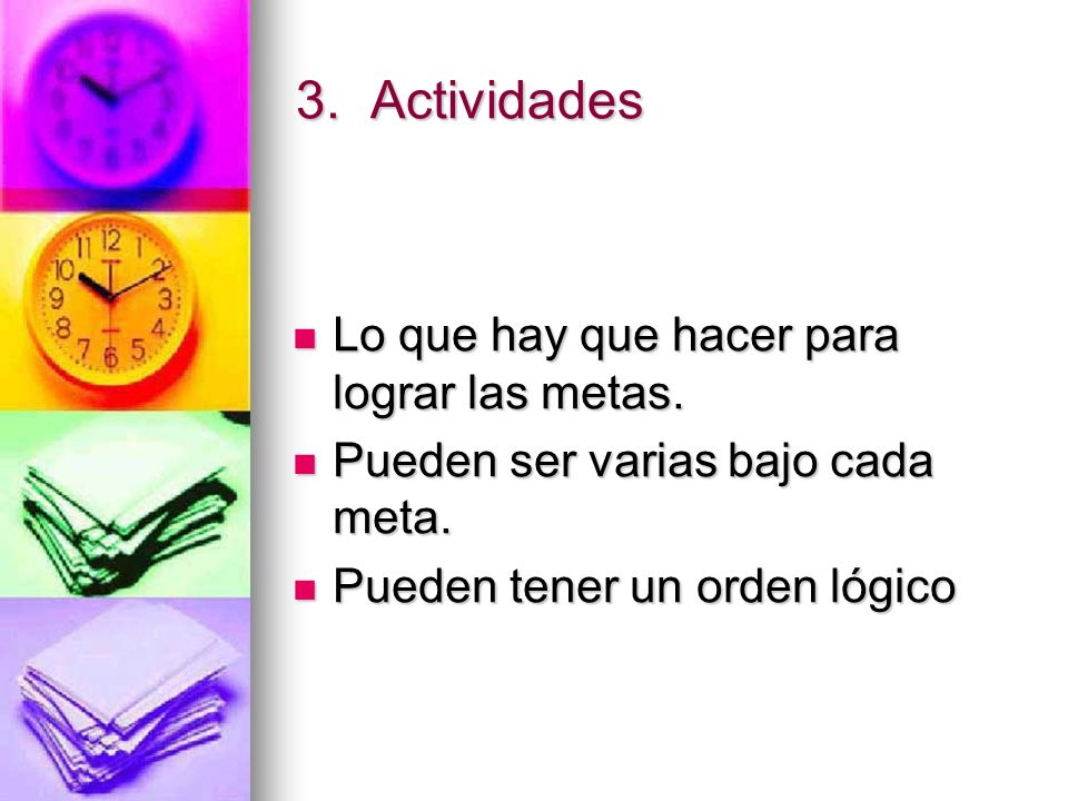 3.Actividades Lo que hay que hacer para lograr las metas.