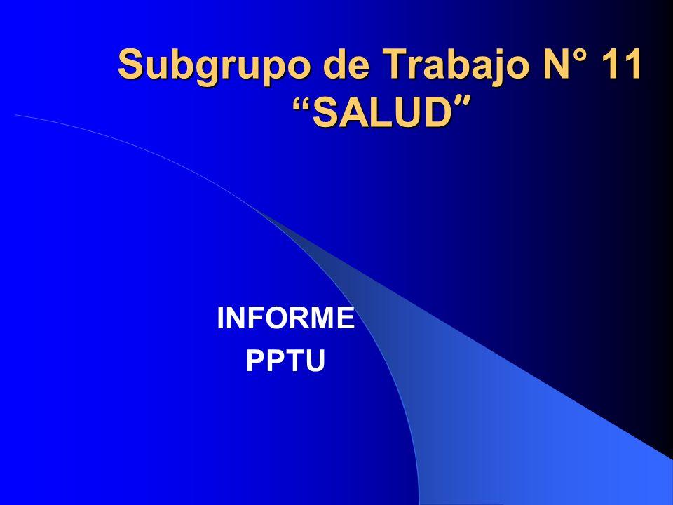Subgrupo de Trabajo N° 11 SALUD Subgrupo de Trabajo N° 11 SALUD INFORME PPTU