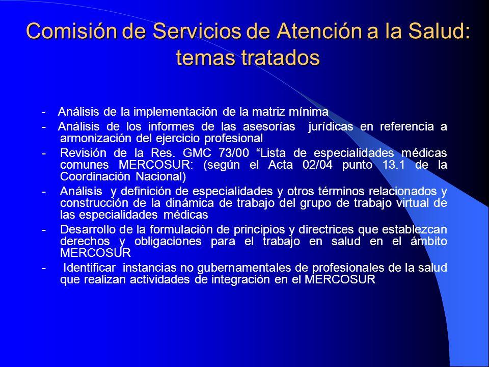 Comisión de Servicios de Atención a la Salud: temas tratados - Análisis de la implementación de la matriz mínima - Análisis de los informes de las asesorías jurídicas en referencia a armonización del ejercicio profesional - Revisión de la Res.
