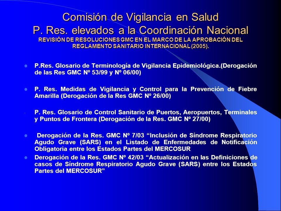 Comisión de Vigilancia en Salud P. Res. elevados a la Coordinación Nacional REVISIÓN DE RESOLUCIONES GMC EN EL MARCO DE LA APROBACIÓN DEL REGLAMENTO S