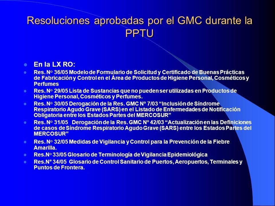 Resoluciones aprobadas por el GMC durante la PPTU En la LX RO: Res. N° 36/05 Modelo de Formulario de Solicitud y Certificado de Buenas Prácticas de Fa