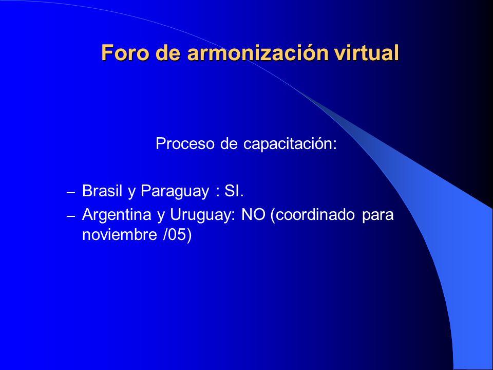 Foro de armonización virtual Proceso de capacitación: – Brasil y Paraguay : SI. – Argentina y Uruguay: NO (coordinado para noviembre /05)