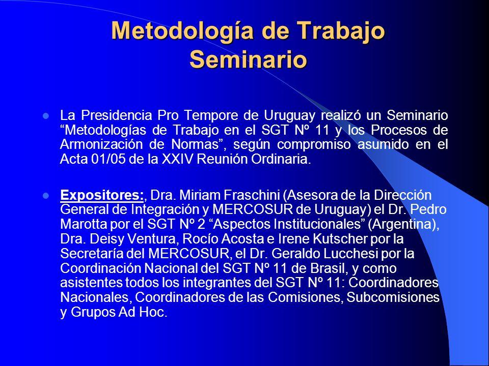 Metodología de Trabajo Seminario La Presidencia Pro Tempore de Uruguay realizó un Seminario Metodologías de Trabajo en el SGT Nº 11 y los Procesos de Armonización de Normas, según compromiso asumido en el Acta 01/05 de la XXIV Reunión Ordinaria.