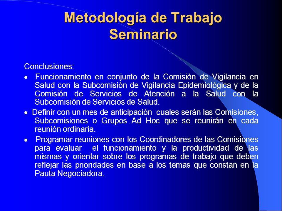 Metodología de Trabajo Seminario Conclusiones: Funcionamiento en conjunto de la Comisión de Vigilancia en Salud con la Subcomisión de Vigilancia Epidemiológica y de la Comisión de Servicios de Atención a la Salud con la Subcomisión de Servicios de Salud.