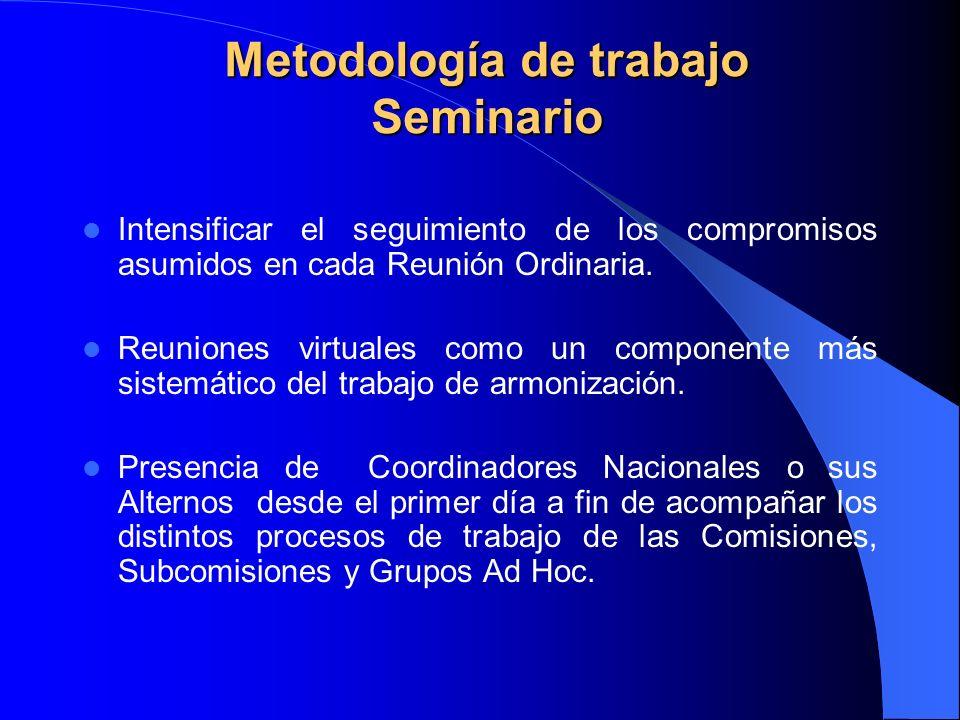 Metodología de trabajo Seminario Intensificar el seguimiento de los compromisos asumidos en cada Reunión Ordinaria.