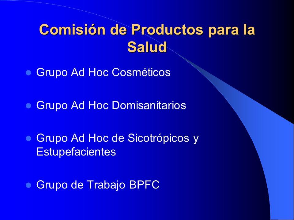 Comisión de Productos para la Salud Grupo Ad Hoc Cosméticos Grupo Ad Hoc Domisanitarios Grupo Ad Hoc de Sicotrópicos y Estupefacientes Grupo de Trabaj