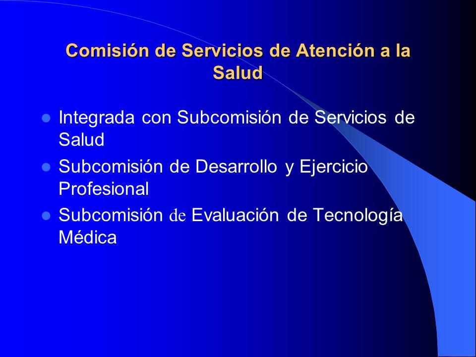 Comisión de Servicios de Atención a la Salud Integrada con Subcomisión de Servicios de Salud Subcomisión de Desarrollo y Ejercicio Profesional Subcomisión de Evaluación de Tecnología Médica