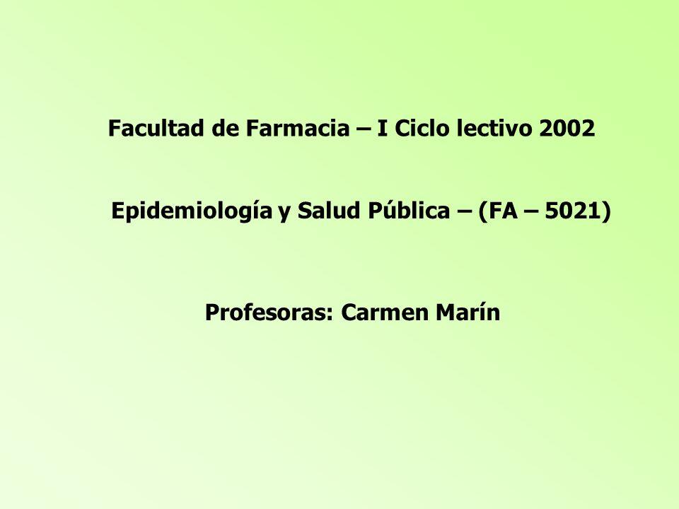 Facultad de Farmacia – I Ciclo lectivo 2002 Epidemiología y Salud Pública – (FA – 5021) Profesoras: Carmen Marín