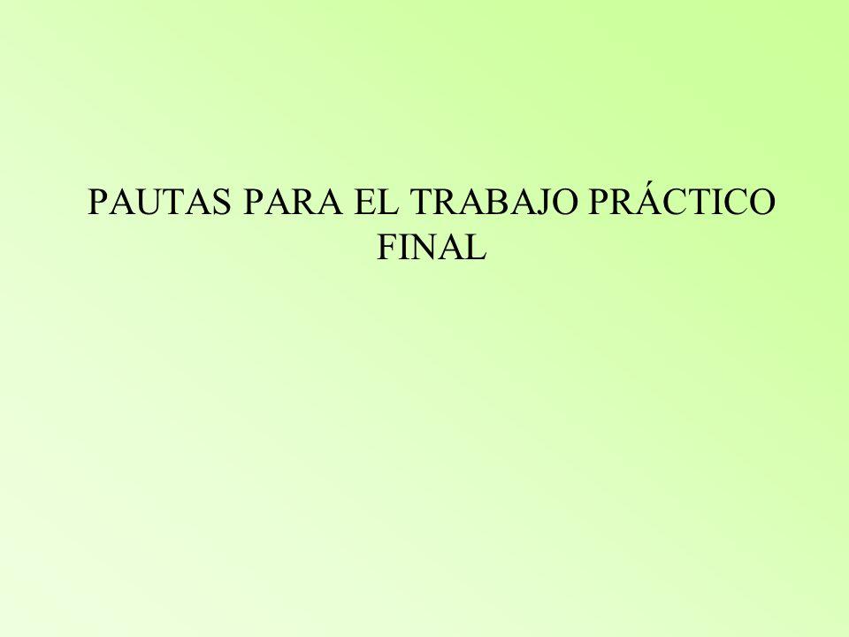 PAUTAS PARA EL TRABAJO PRÁCTICO FINAL