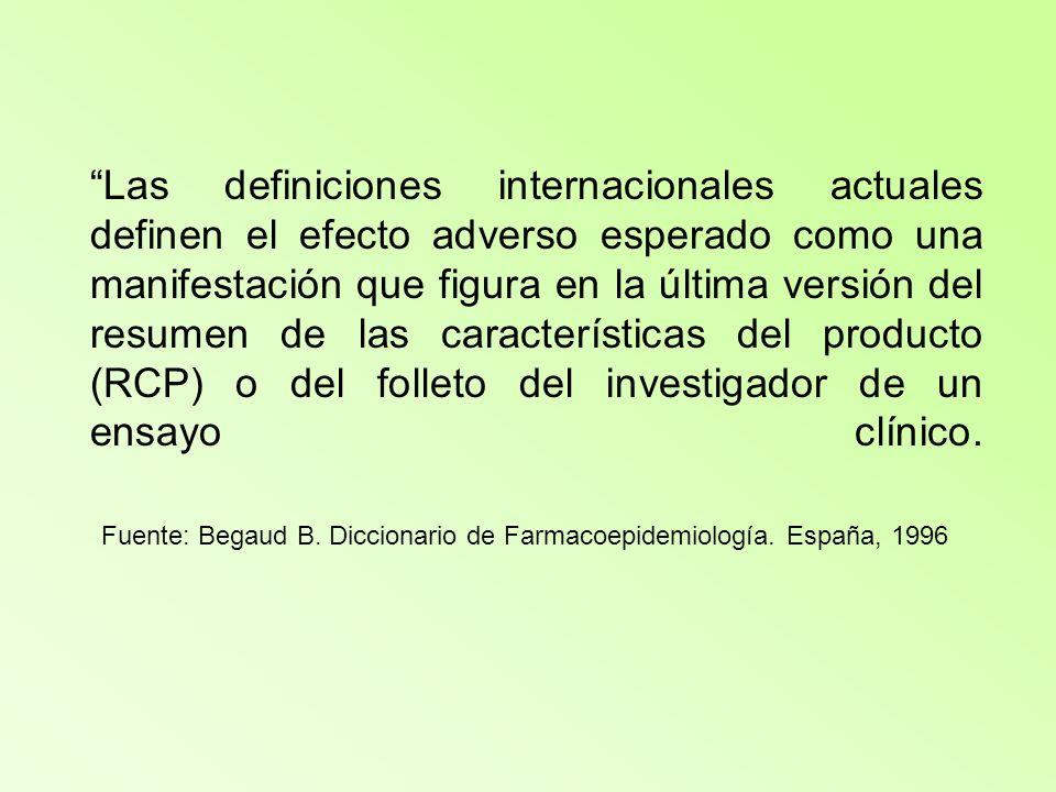 Las definiciones internacionales actuales definen el efecto adverso esperado como una manifestación que figura en la última versión del resumen de las características del producto (RCP) o del folleto del investigador de un ensayo clínico.