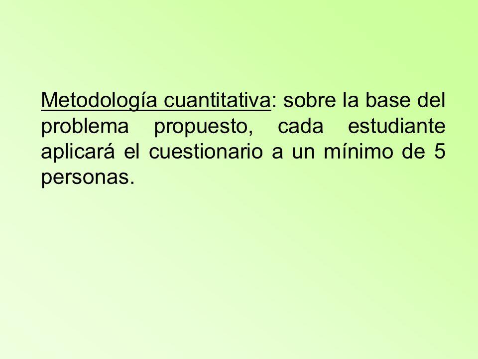 Metodología cuantitativa: sobre la base del problema propuesto, cada estudiante aplicará el cuestionario a un mínimo de 5 personas.