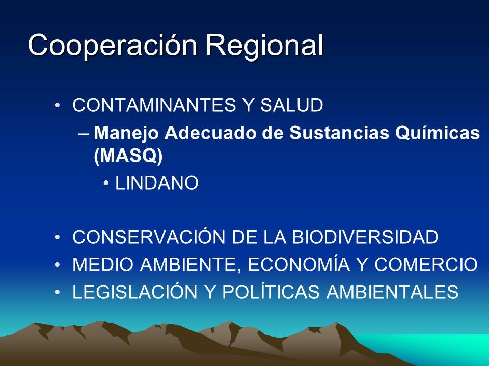 Cooperación Regional CONTAMINANTES Y SALUD –Manejo Adecuado de Sustancias Químicas (MASQ) LINDANO CONSERVACIÓN DE LA BIODIVERSIDAD MEDIO AMBIENTE, ECO