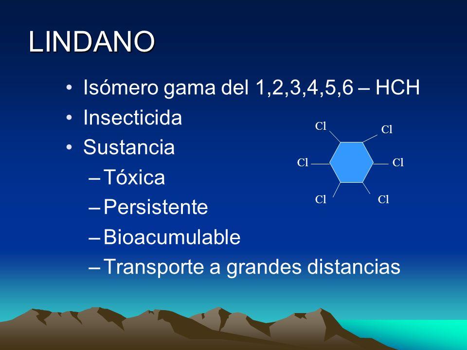 LINDANO Isómero gama del 1,2,3,4,5,6 – HCH Insecticida Sustancia –Tóxica –Persistente –Bioacumulable –Transporte a grandes distancias Cl