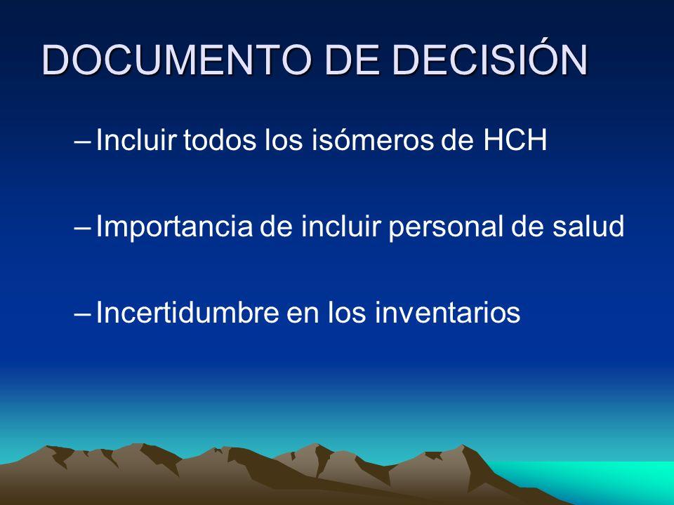 DOCUMENTO DE DECISIÓN –Incluir todos los isómeros de HCH –Importancia de incluir personal de salud –Incertidumbre en los inventarios