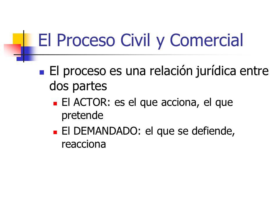 El Proceso Civil y Comercial El proceso es una relación jurídica entre dos partes El ACTOR: es el que acciona, el que pretende El DEMANDADO: el que se defiende, reacciona
