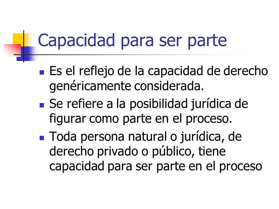 Capacidad para ser parte Es el reflejo de la capacidad de derecho genéricamente considerada.
