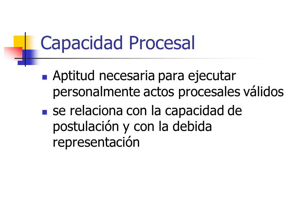 Capacidad Procesal Aptitud necesaria para ejecutar personalmente actos procesales válidos se relaciona con la capacidad de postulación y con la debida representación