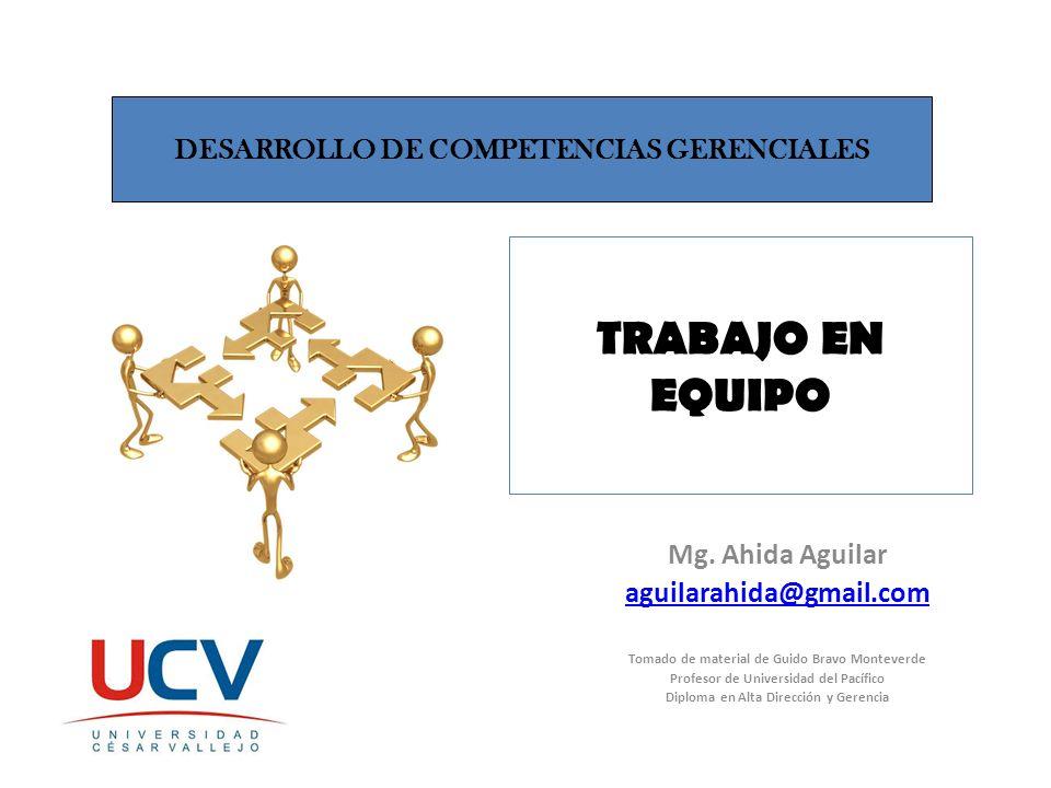 TRABAJO EN EQUIPO Mg. Ahida Aguilar aguilarahida@gmail.com Tomado de material de Guido Bravo Monteverde Profesor de Universidad del Pacífico Diploma e