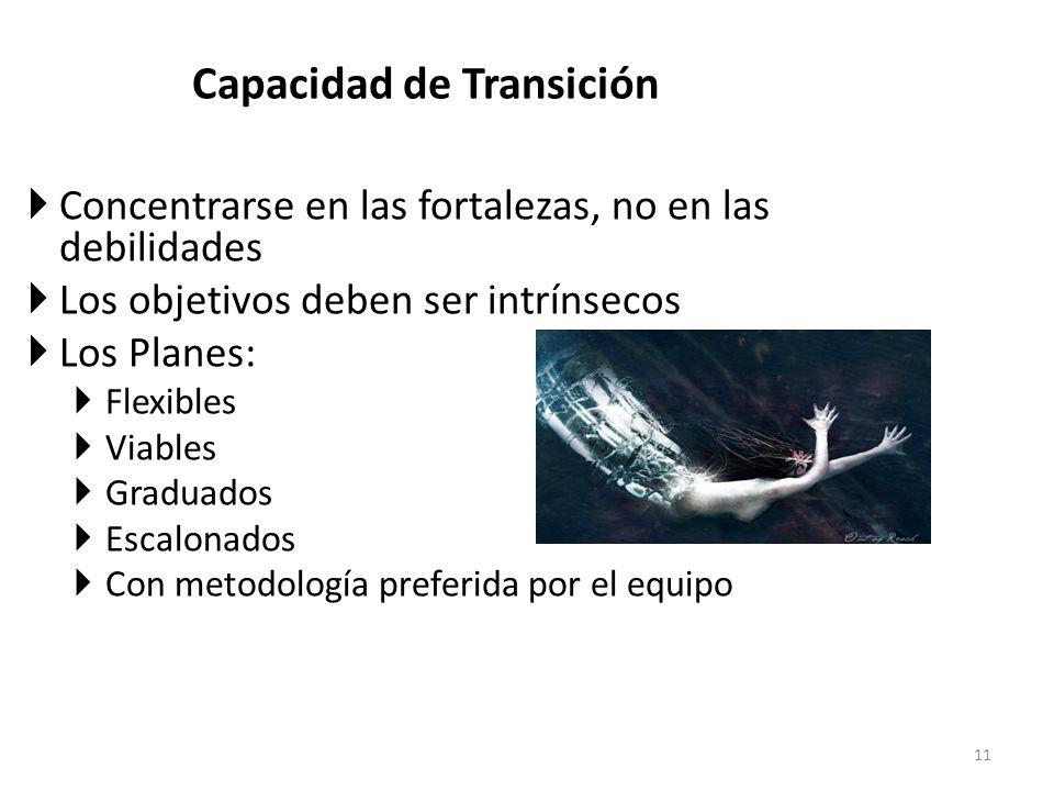 Capacidad de Transición Concentrarse en las fortalezas, no en las debilidades Los objetivos deben ser intrínsecos Los Planes: Flexibles Viables Gradua