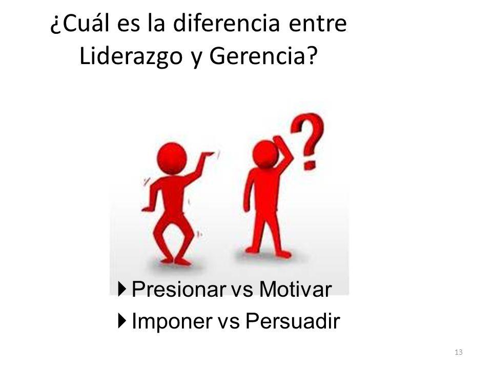 ¿Cuál es la diferencia entre Liderazgo y Gerencia? 13 Presionar vs Motivar Imponer vs Persuadir