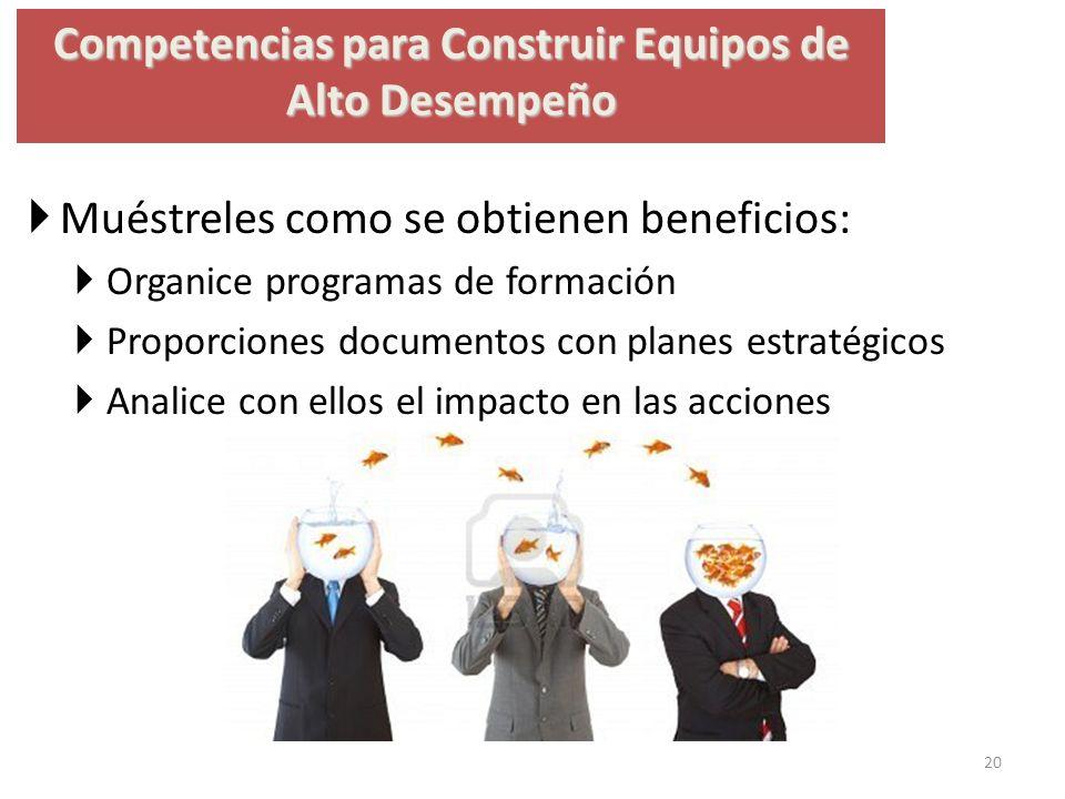 Competencias para Construir Equipos de Alto Desempeño Muéstreles como se obtienen beneficios: Organice programas de formación Proporciones documentos