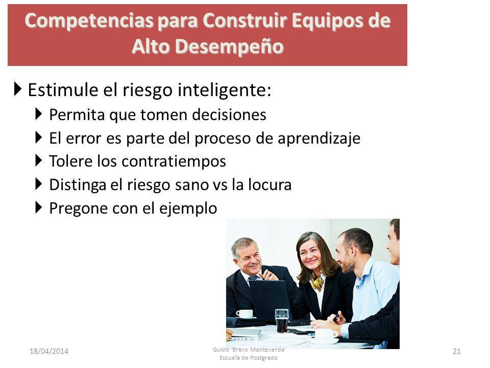 Competencias para Construir Equipos de Alto Desempeño Estimule el riesgo inteligente: Permita que tomen decisiones El error es parte del proceso de ap
