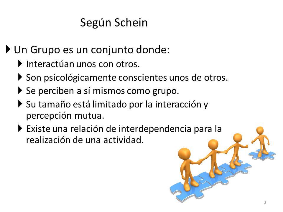 Según Schein Un Grupo es un conjunto donde: Interactúan unos con otros. Son psicológicamente conscientes unos de otros. Se perciben a sí mismos como g