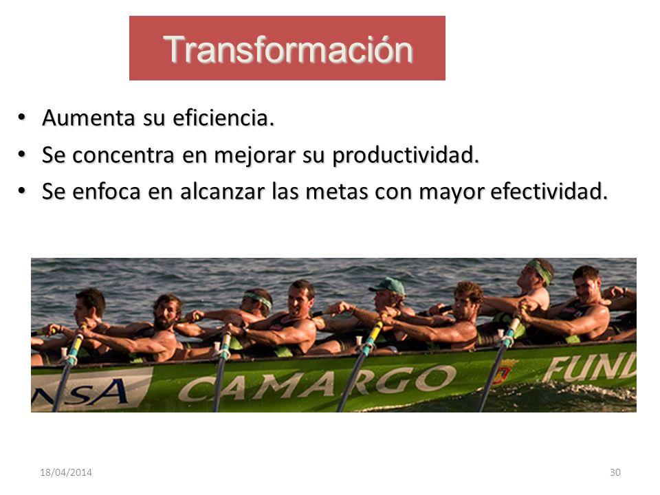 Transformación Aumenta su eficiencia. Aumenta su eficiencia. Se concentra en mejorar su productividad. Se concentra en mejorar su productividad. Se en