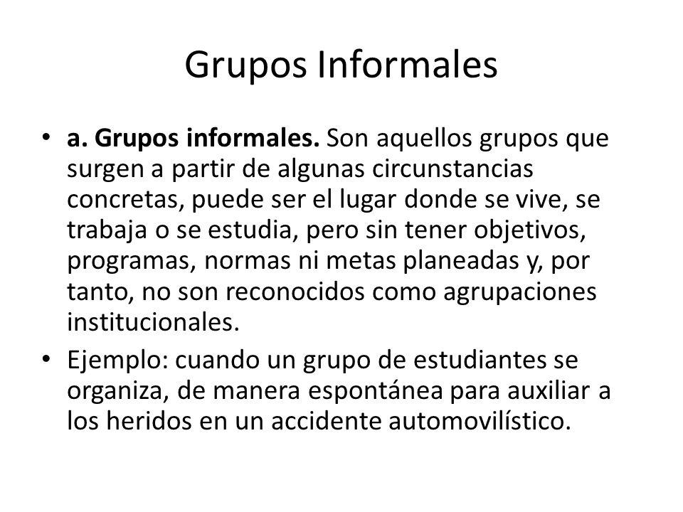 Grupos Informales a. Grupos informales. Son aquellos grupos que surgen a partir de algunas circunstancias concretas, puede ser el lugar donde se vive,