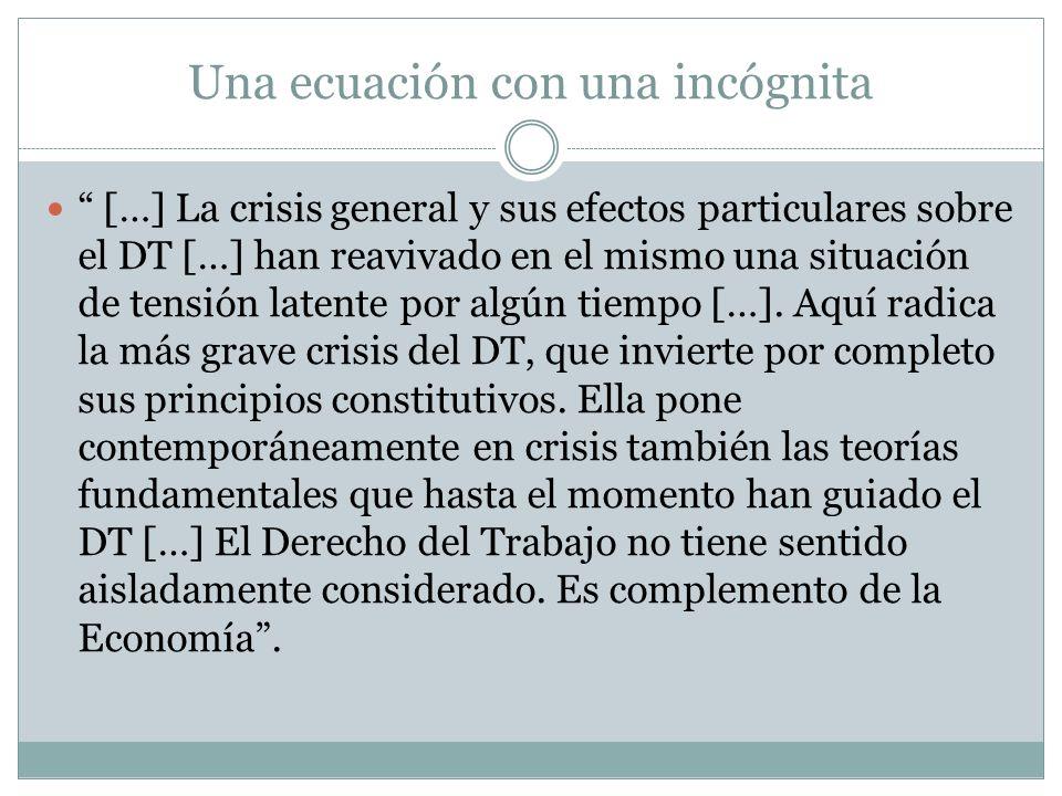 Una ecuación con una incógnita […] La crisis general y sus efectos particulares sobre el DT […] han reavivado en el mismo una situación de tensión lat