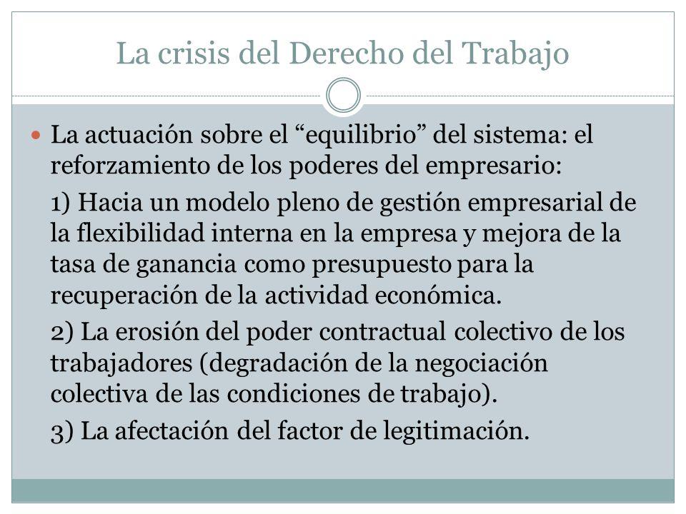 La crisis del Derecho del Trabajo La actuación sobre el equilibrio del sistema: el reforzamiento de los poderes del empresario: 1) Hacia un modelo ple