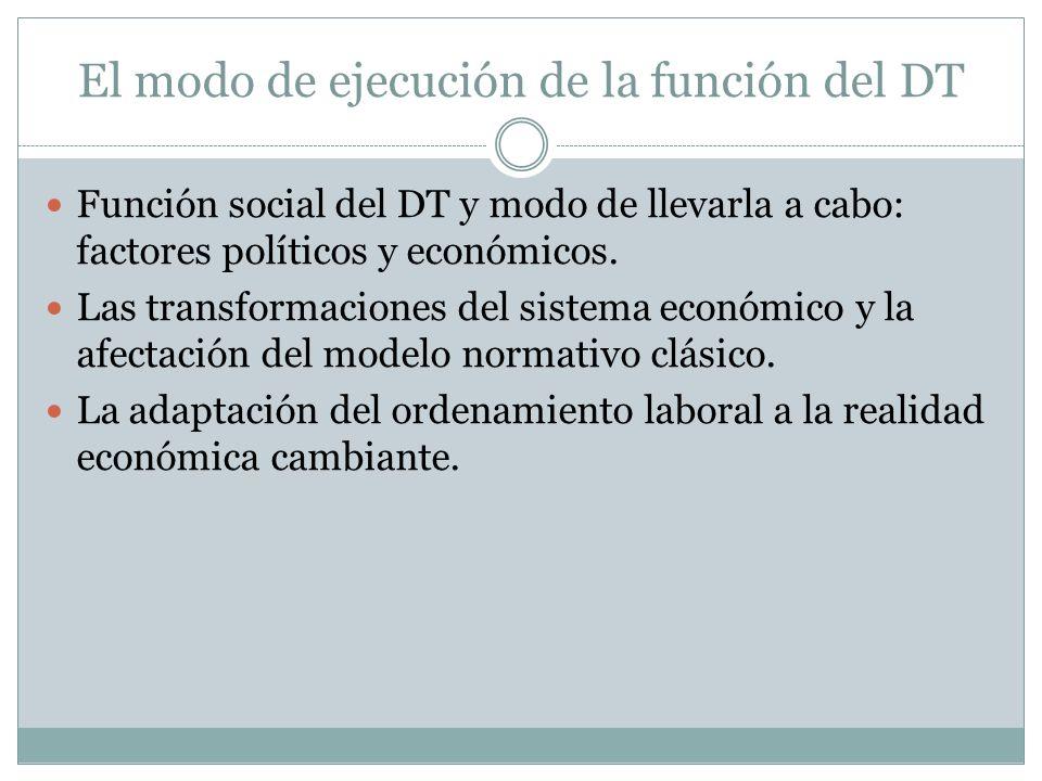 El modo de ejecución de la función del DT Función social del DT y modo de llevarla a cabo: factores políticos y económicos. Las transformaciones del s